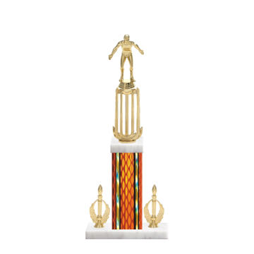 """18"""" Wrestling Trophy with Wrestling Figurine, 7"""" colored column, double side trim and marble base."""