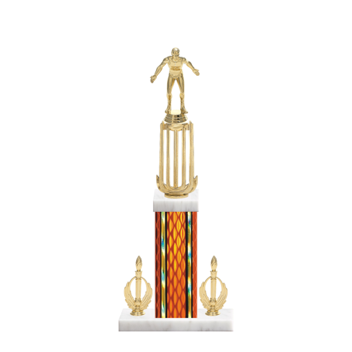 "18"" Wrestling Trophy with Wrestling Figurine, 7"" colored column, double side trim and marble base."