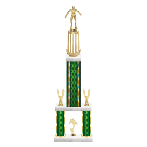 "26"" Multi-Tier Wrestling Trophy with Wrestling Figurine, 9"" colored top column, 5"" colored bottom columns, cup riser, double side trim and center base trim."