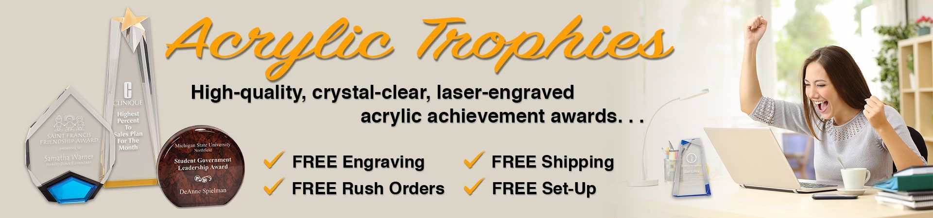 Acrylic Trophies with text the high-quality, crystal-clear, laser-engraved acrylic achievement awards. . .