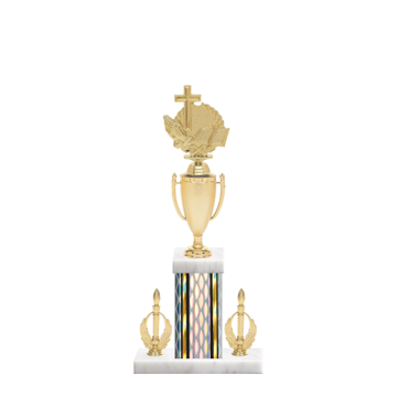 "16"" Church Trophy with Church Figurine, 5"" colored column, double side trim and marble base."