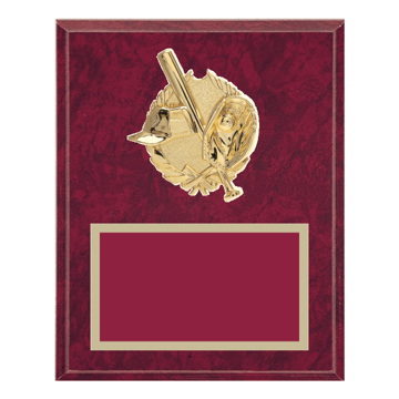"0	8"" x 10"" Baseball Plaque with gold background plate, colored engraving plate and gold 3D Baseball medallion."