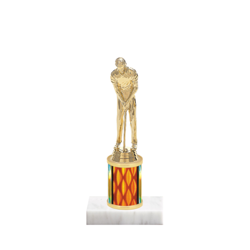 "7"" Miniature Golf Trophy with Miniature Golf Figurine, 2"" colored column and marble base."