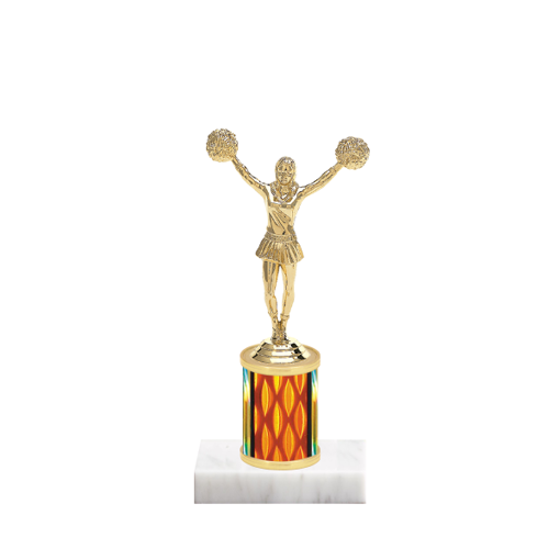"7"" Pom-Pom Trophy with Pom-Pom Figurine, 2"" colored column and marble base."