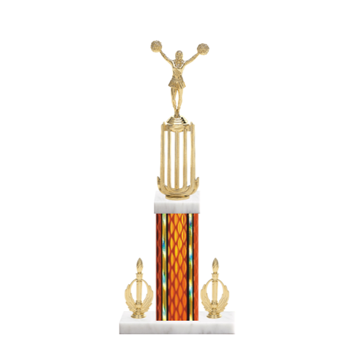 "18"" Pom-Pom Trophy with Pom-Pom Figurine, 7"" colored column, double side trim and marble base."