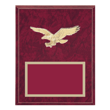 """8"""" x 10"""" American Flag   Patriotic Plaque with gold background plate, colored engraving plate and gold 3D American Flag   Patriotic medallion."""