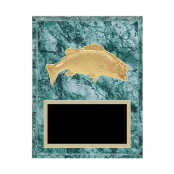 "7"" x 9"" Animal Plaque with gold background plate, colored engraving plate and gold 3D Animal medallion."