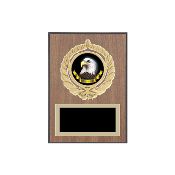 "5"" x 7"" Animal Plaque with gold background plate, colored engraving plate, gold open wreath medallion holder and Animal insert."