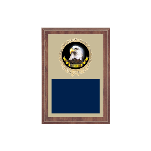 """5"""" x 7"""" Animal Plaque with gold background plate, colored engraving plate, gold wreath medallion and Animal insert."""
