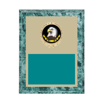 "7"" x 9"" Animal Plaque with gold background plate, colored engraving plate, gold wreath medallion and Animal insert."