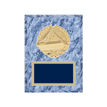 """6"""" x 8"""" Pool   Billiards Plaque with gold background plate, colored engraving plate and gold 3D Pool   Billiards medallion."""