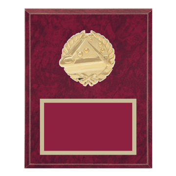 """8"""" x 10"""" Pool   Billiards Plaque with gold background plate, colored engraving plate and gold 3D Pool   Billiards medallion."""