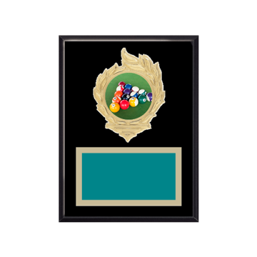 """6"""" x 8"""" Pool   Billiards Plaque with gold background, colored engraving plate, gold flame medallion holder and Pool   Billiards insert."""