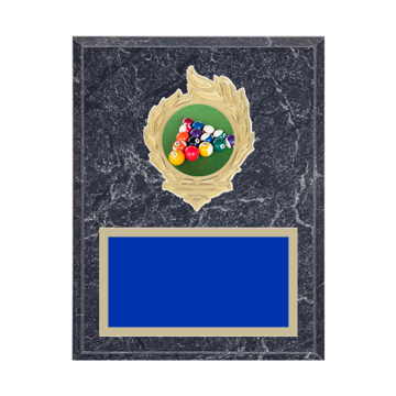 """7"""" x 9"""" Pool   Billiards Plaque with gold background, colored engraving plate, gold flame medallion holder and Pool   Billiards insert."""