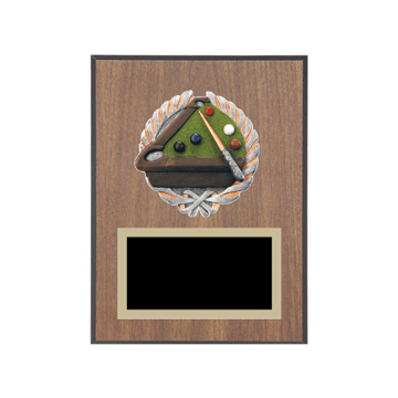 """6"""" x 8"""" Pool   Billiards Plaque with gold background plate, colored engraving plate and full color 3D resin Pool   Billiards medallion."""