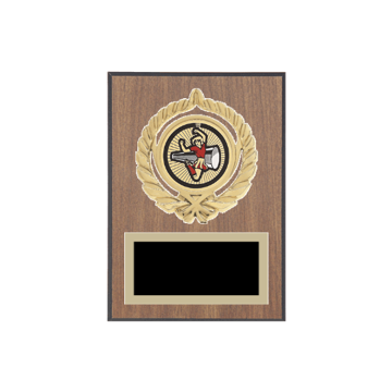 "5"" x 7"" Majorette Plaque with gold background plate, colored engraving plate, gold open wreath medallion holder and Majorette insert."