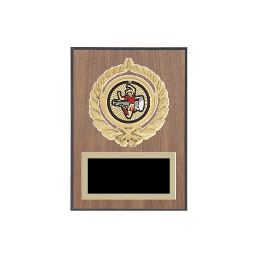 """5"""" x 7"""" Majorette Plaque with gold background plate, colored engraving plate, gold open wreath medallion holder and Majorette insert."""