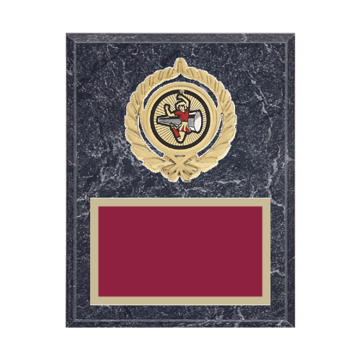 """7"""" x 9"""" Majorette Plaque with gold background plate, colored engraving plate, gold open wreath medallion holder and Majorette insert."""