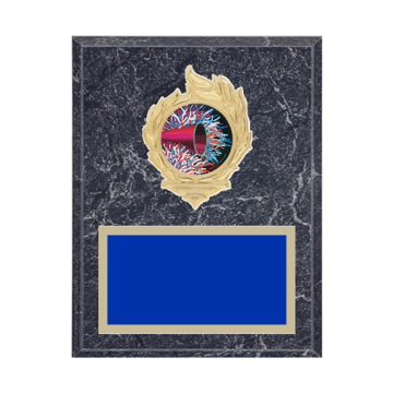 "7"" x 9"" Majorette Plaque with gold background, colored engraving plate, gold flame medallion holder and Majorette insert."