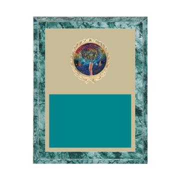 """7"""" x 9"""" Majorette Plaque with gold background plate, colored engraving plate, gold wreath medallion and Majorette insert."""