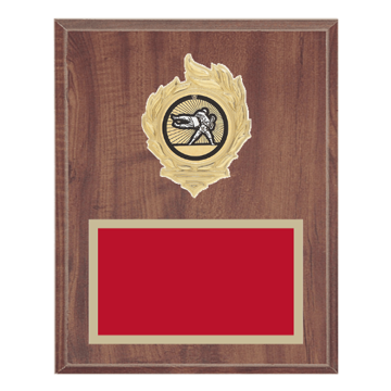"8"" x 10"" Martial Arts Plaque with gold background, colored engraving plate, gold flame medallion holder and Martial Arts insert."