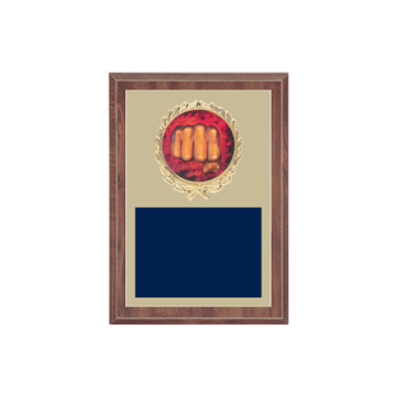 "5"" x 7"" Martial Arts Plaque with gold background plate, colored engraving plate, gold wreath medallion and Martial Arts insert."