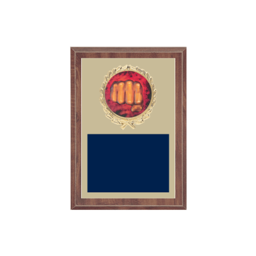 """5"""" x 7"""" Martial Arts Plaque with gold background plate, colored engraving plate, gold wreath medallion and Martial Arts insert."""