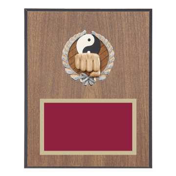 "8"" x 10"" Martial Arts Plaque with gold background plate, colored engraving plate and full color 3D resin Martial Arts medallion."