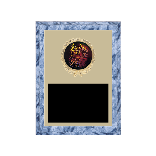 """6"""" x 8"""" Music Plaque with gold background plate, colored engraving plate, gold wreath medallion and Music insert."""