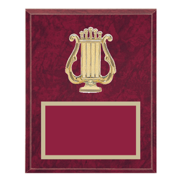 "8"" x 10"" Music Plaque with gold background plate, colored engraving plate and gold 3D Music medallion."