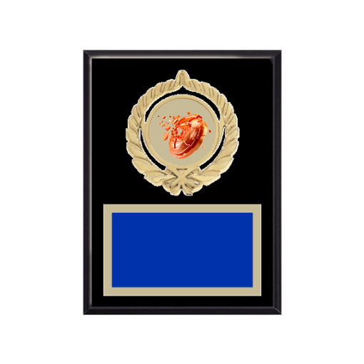 """6"""" x 8"""" Shooting   Gun Plaque with gold background plate, colored engraving plate, gold open wreath medallion holder and Shooting   Gun insert."""