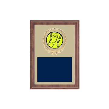 "5"" x 7"" Softball Plaque with gold background plate, colored engraving plate, gold wreath medallion and Softball insert."
