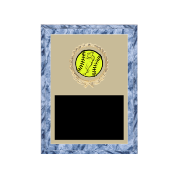 "6"" x 8"" Softball Plaque with gold background plate, colored engraving plate, gold wreath medallion and Softball insert."