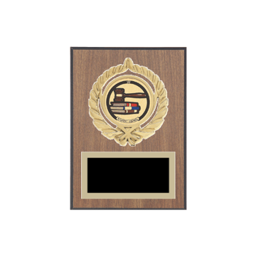 "5"" x 7"" Student Council Plaque with gold background plate, colored engraving plate, gold open wreath medallion holder and Student Council insert."
