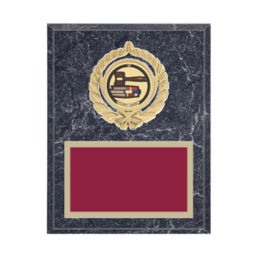 "7"" x 9"" Student Council Plaque with gold background plate, colored engraving plate, gold open wreath medallion holder and Student Council insert."