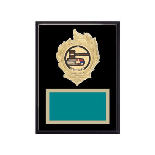 """6"""" x 8"""" Student Council Plaque with gold background, colored engraving plate, gold flame medallion holder and Student Council insert."""