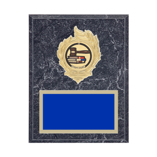 """7"""" x 9"""" Student Council Plaque with gold background, colored engraving plate, gold flame medallion holder and Student Council insert."""