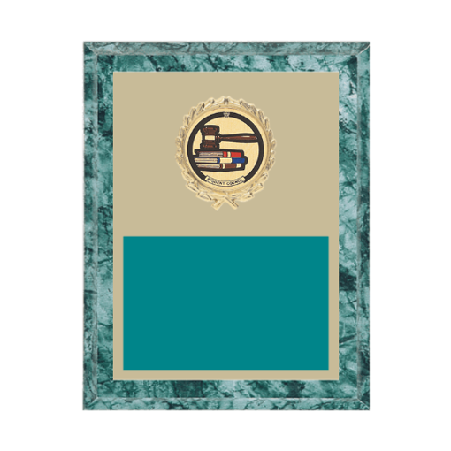 """7"""" x 9"""" Student Council Plaque with gold background plate, colored engraving plate, gold wreath medallion and Student Council insert."""