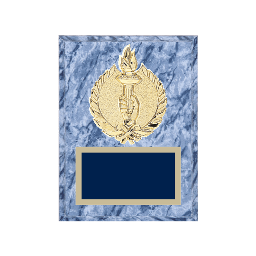 """6"""" x 8"""" Victory Plaque with gold background plate, colored engraving plate and gold 3D Victory medallion."""