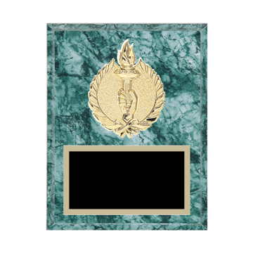 "7"" x 9"" Victory Plaque with gold background plate, colored engraving plate and gold 3D Victory medallion."