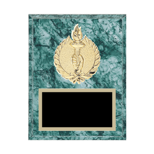 """7"""" x 9"""" Victory Plaque with gold background plate, colored engraving plate and gold 3D Victory medallion."""