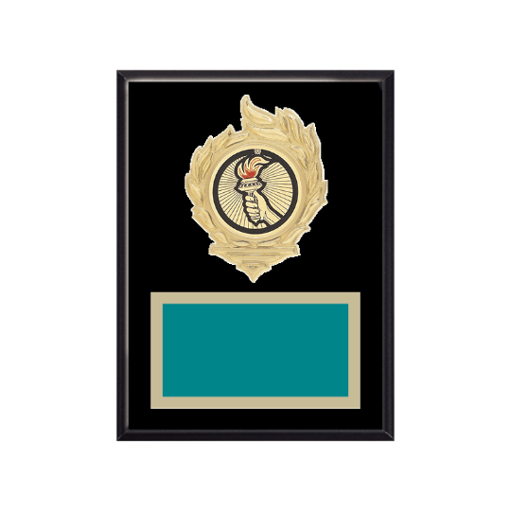 """6"""" x 8"""" Victory Plaque with gold background, colored engraving plate, gold flame medallion holder and Victory insert."""