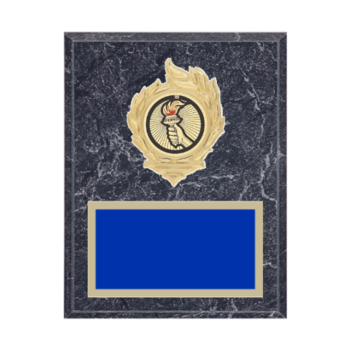 """7"""" x 9"""" Victory Plaque with gold background, colored engraving plate, gold flame medallion holder and Victory insert."""