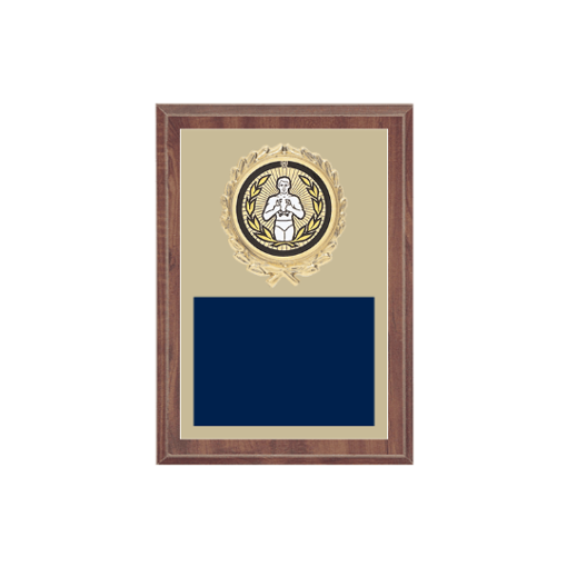 """5"""" x 7"""" Victory Plaque with gold background plate, colored engraving plate, gold wreath medallion and Victory insert."""
