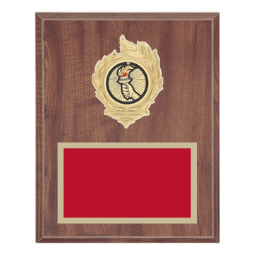 "8"" x 10"" Victory Plaque with gold background, colored engraving plate, gold flame medallion holder and Victory insert."