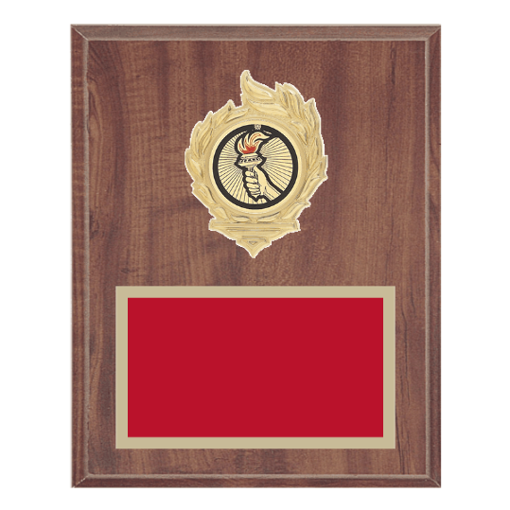 """8"""" x 10"""" Victory Plaque with gold background, colored engraving plate, gold flame medallion holder and Victory insert."""