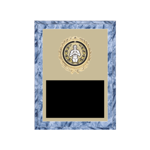 "6"" x 8"" Victory Plaque with gold background plate, colored engraving plate, gold wreath medallion and Victory insert."