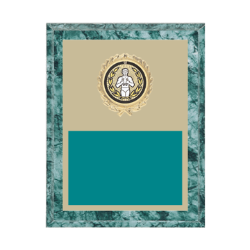 "7"" x 9"" Victory Plaque with gold background plate, colored engraving plate, gold wreath medallion and Victory insert."