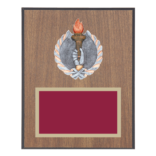 """8"""" x 10"""" Victory Plaque with gold background plate, colored engraving plate and full color 3D resin Victory medallion."""