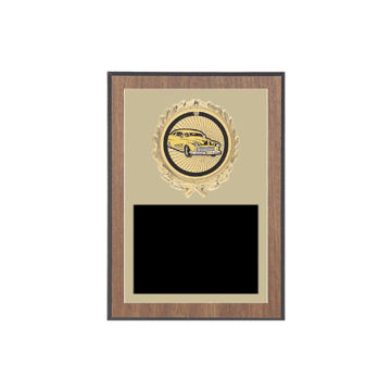 "5"" x 7"" Auto/Racing Plaque with gold background plate, colored engraving plate, gold wreath medallion and  Auto/Racing insert."